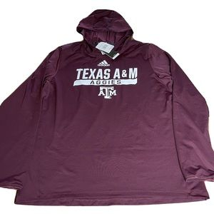 NWT Adidas Texas A&M Aggies Training Top Hooded Shirt